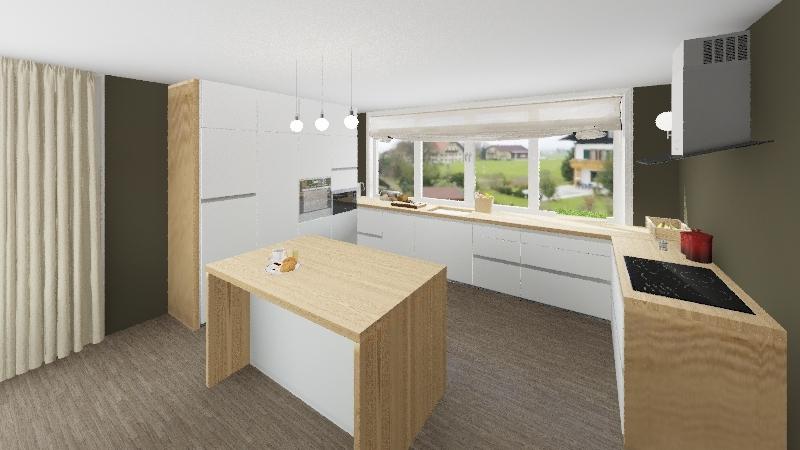 Kitchen with living Interior Design Render