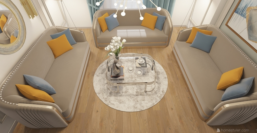 moutarde blue living room Interior Design Render