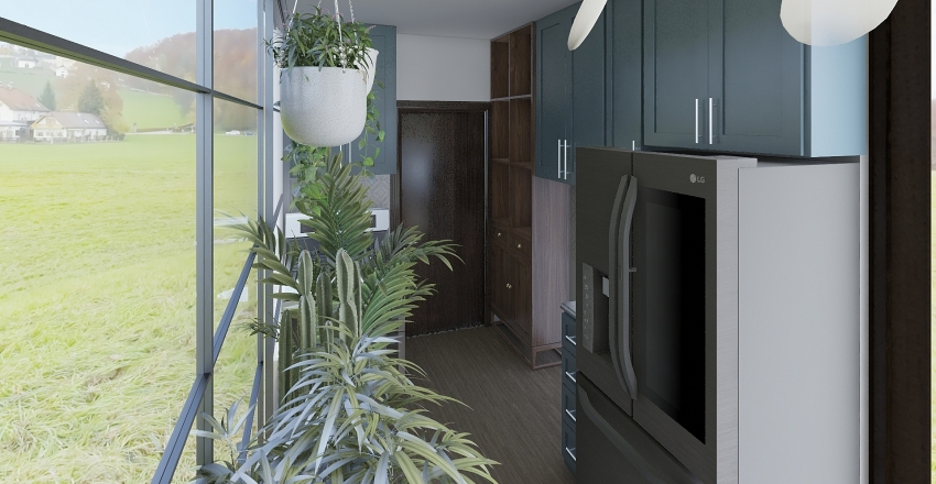 Shipping Container House Interior Design Render