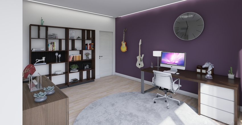 Purple Modern Bedroom Interior Design Render