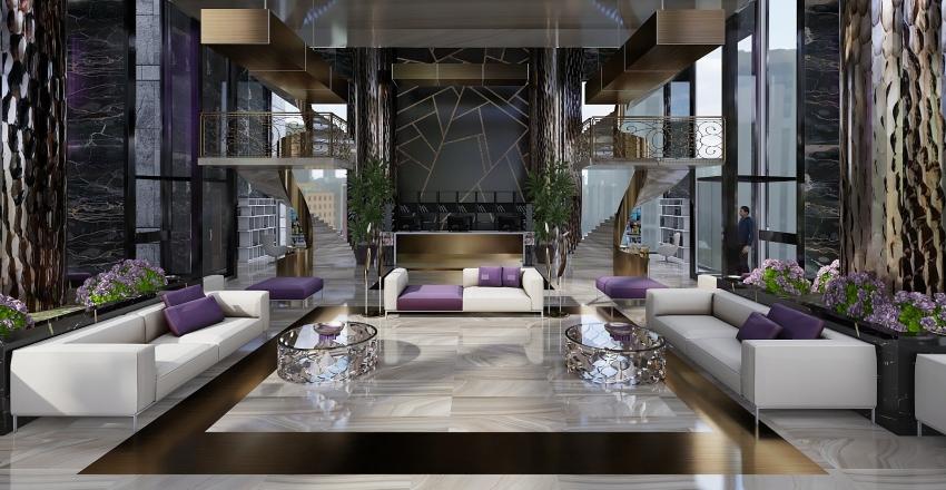 Recepcion hotel ,aseos y cafeteria Interior Design Render