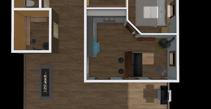 Studio Cabin Interior Design Render