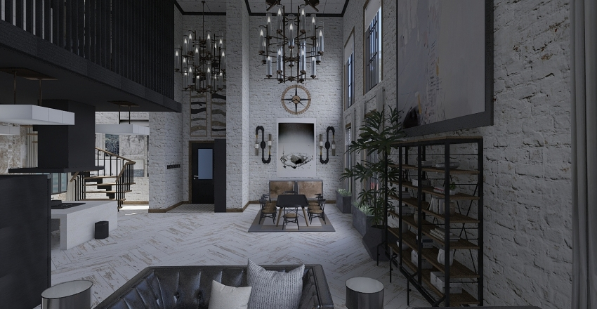 Contemporary Urban Industrial Loft Interior Design Render
