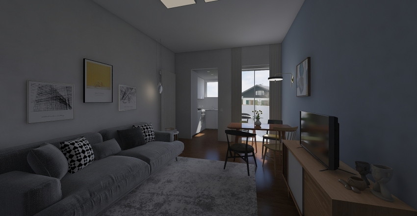 Bilocale Cesano Boscone Interior Design Render