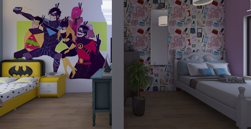 Differing Twins Room Interior Design Render