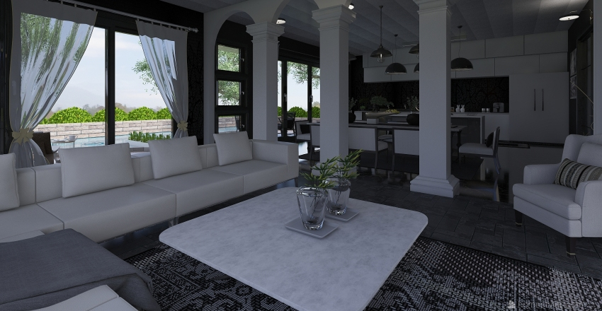 Black and white Interior Design Render