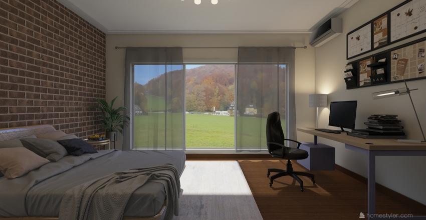 BEDROOM (2) with BATHROOM Interior Design Render