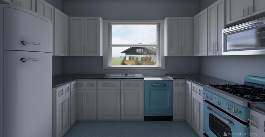 U shaped Kitchen  Interior Design Render