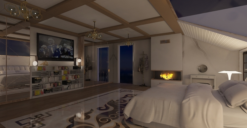 camera mansardata Interior Design Render