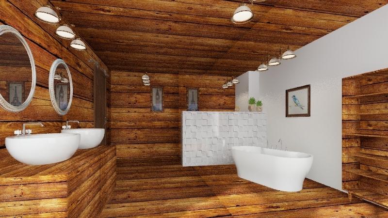 banheiro rustico Interior Design Render