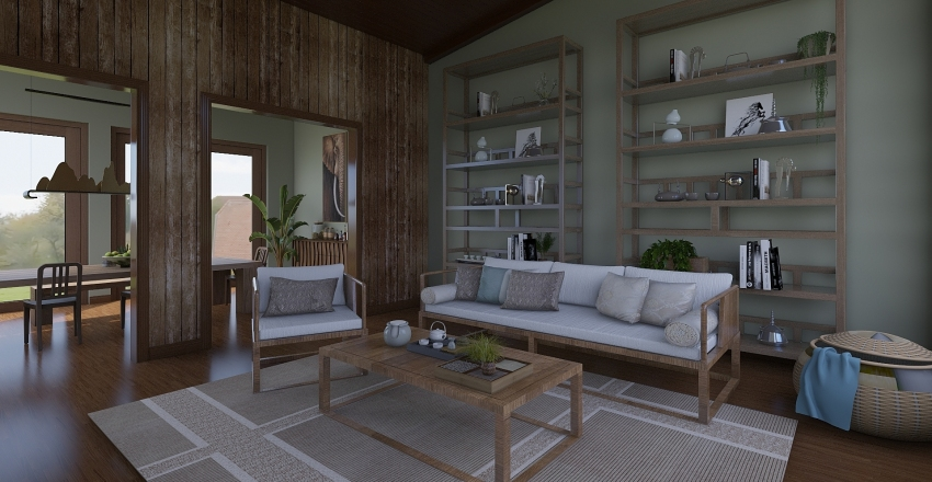 Antique Cherry Interior Design Render