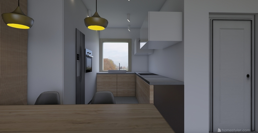 ZD2 - biało-czarno-drewniana Interior Design Render