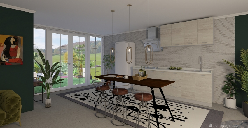 home with garden Interior Design Render