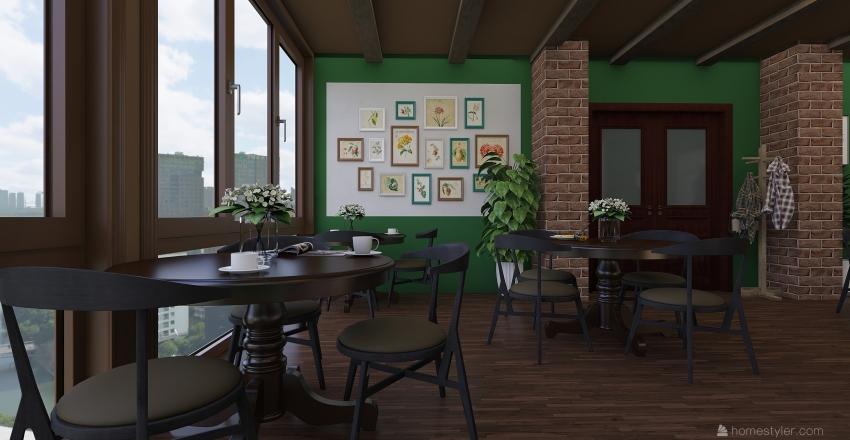 City Cafe Interior Design Render