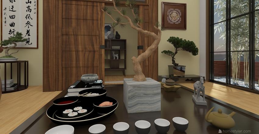 Asian bedroom Interior Design Render