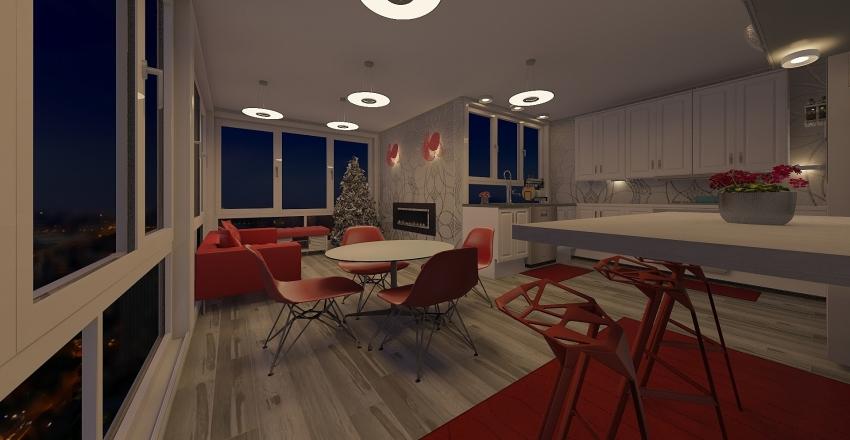 christmas kitchen Interior Design Render