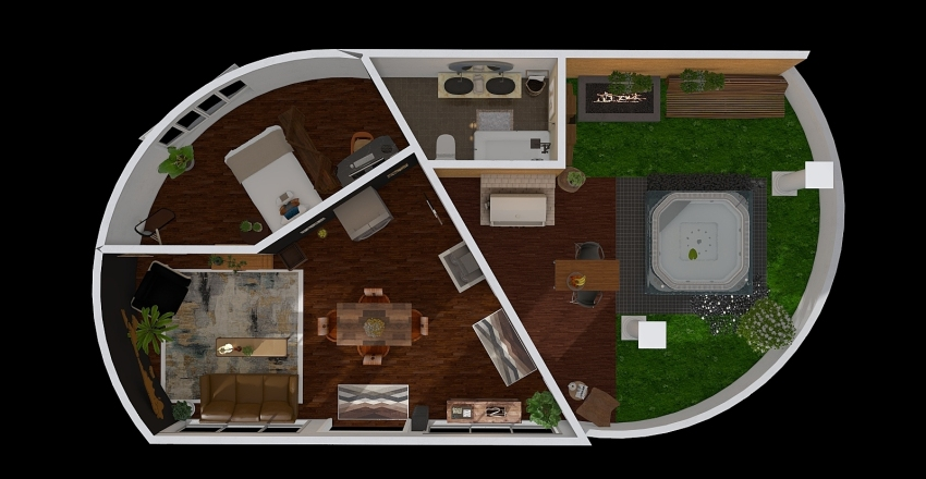 African Modern Apt Interior Design Render