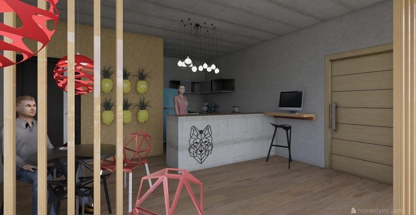 Small Coffe House Interior Design Render