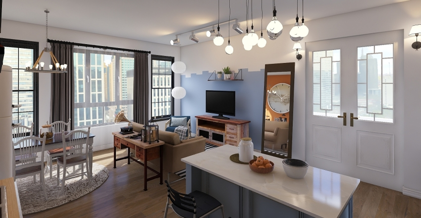 Small apartment studio with terrace Interior Design Render