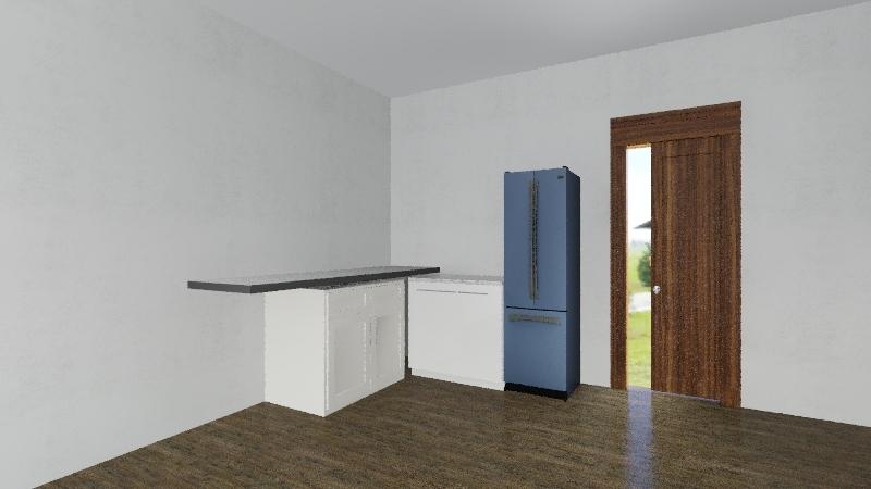 Salon z kuchnia Interior Design Render