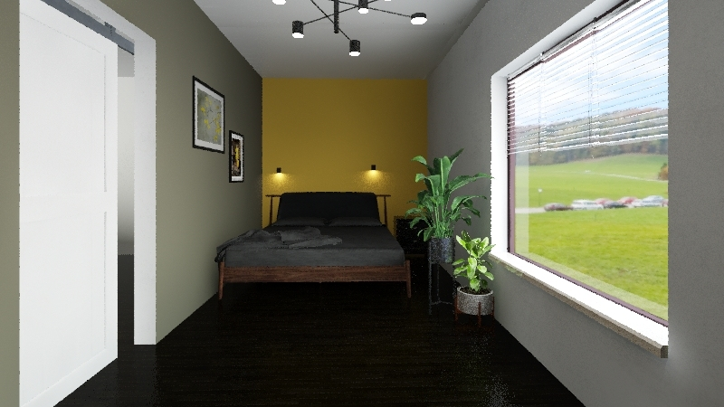 yellow flowery house Interior Design Render