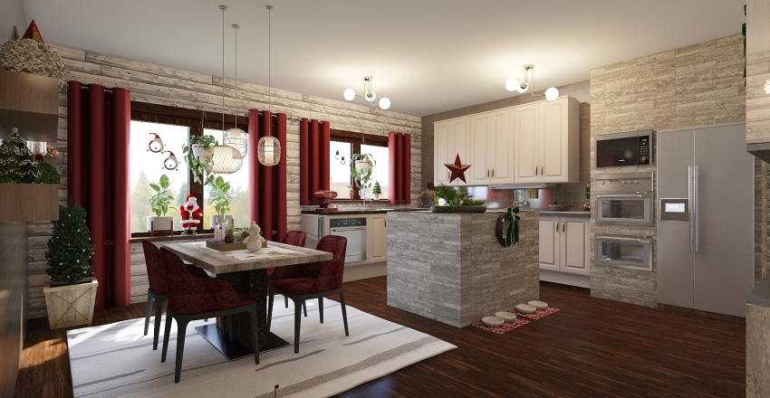Cabin at christmas Interior Design Render