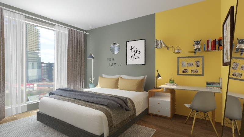 yellow bedroom Interior Design Render