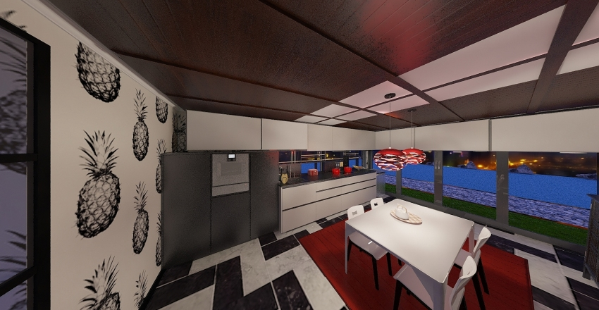 living gold Interior Design Render