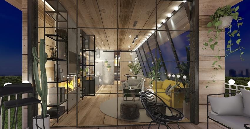 Casa conteiner Interior Design Render