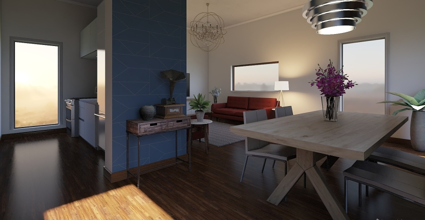simple living Interior Design Render