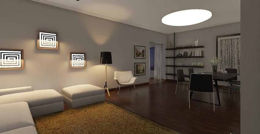 Cômodo com duas funções - Sala de Estar e Sala de Jantar Interior Design Render