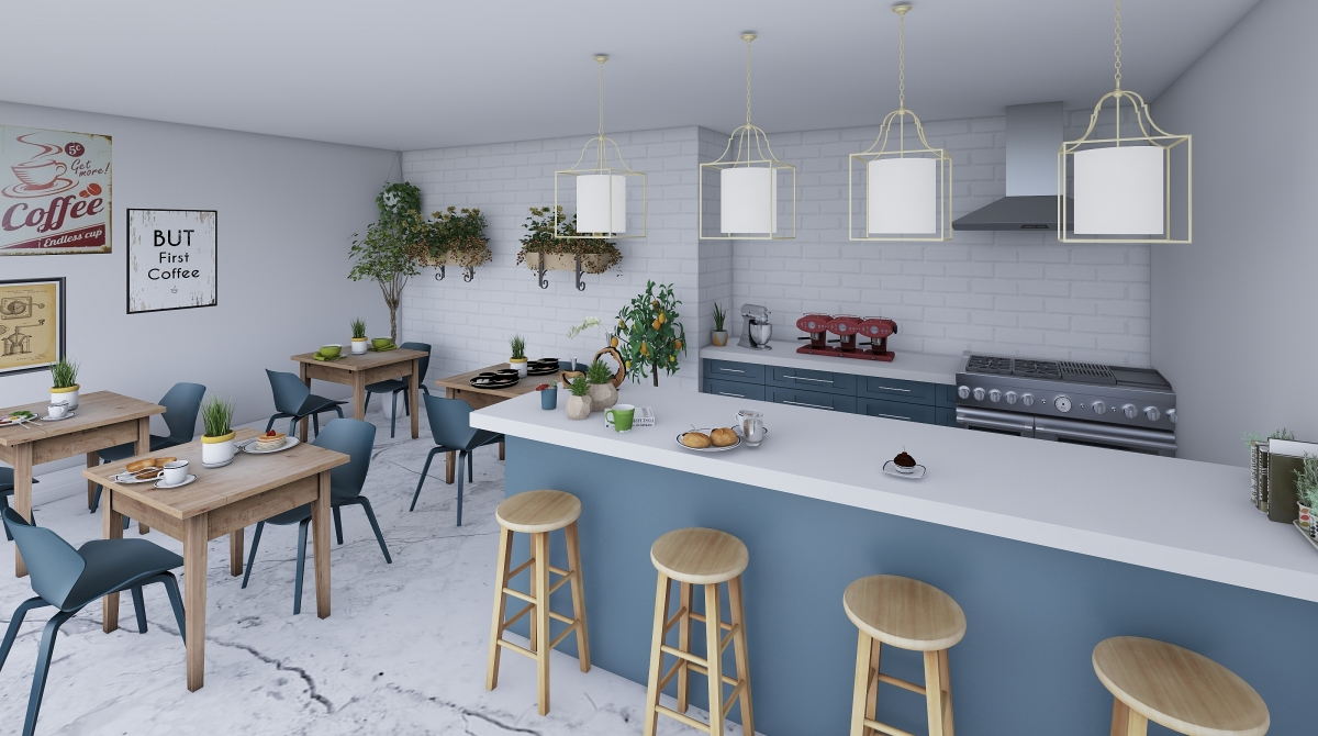 Coffe house interior decoration rendering isabela leal for Homestyler italiano