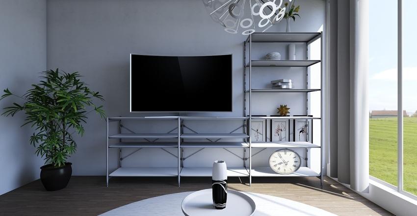 small white and black living room Interior Design Render
