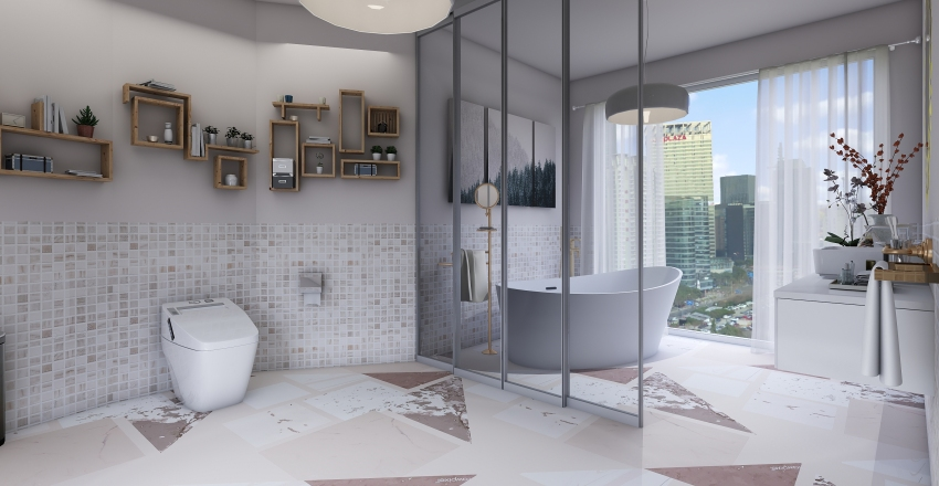 Light Pink Bathroom Interior Design Render