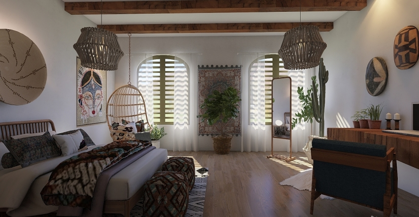 Boho Interior Design Render