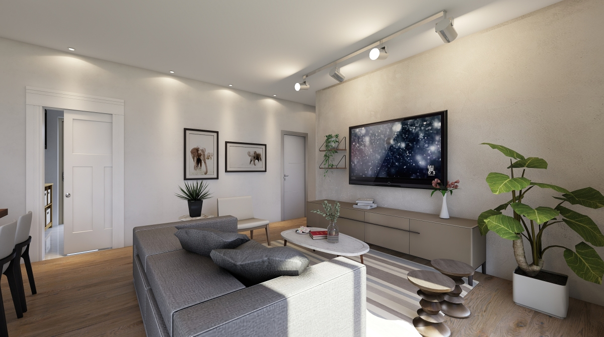 Open space modern interior decoration rendering for Homestyler italiano