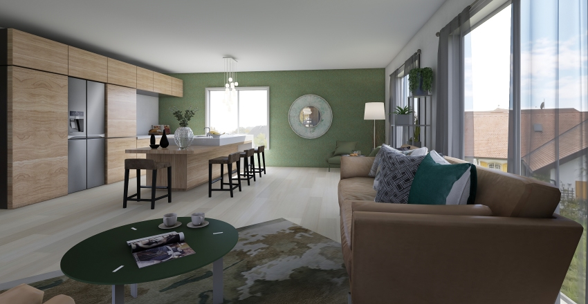 Kitchen-Living-Dining Interior Design Render