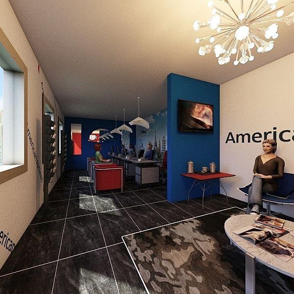 American Airlines Office Interior Design Render