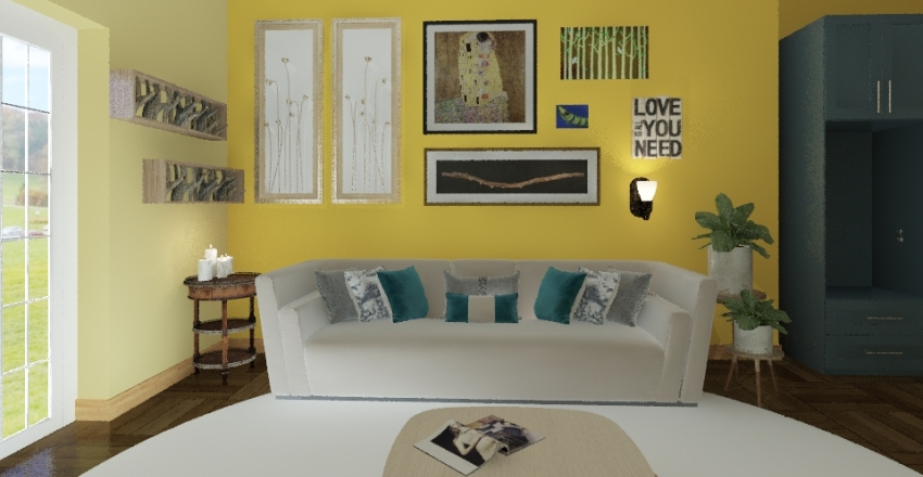 boho Living room Interior Design Render