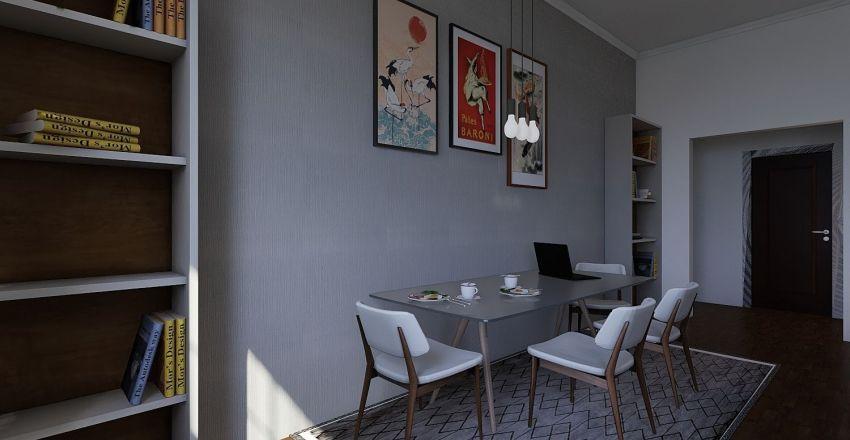 Mid century apartment Interior Design Render