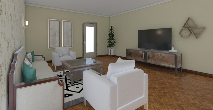 classic living room Interior Design Render