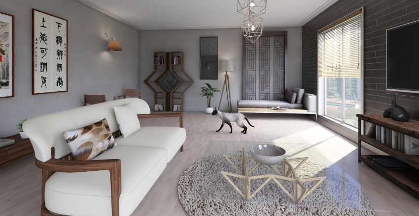 asian-style room Interior Design Render