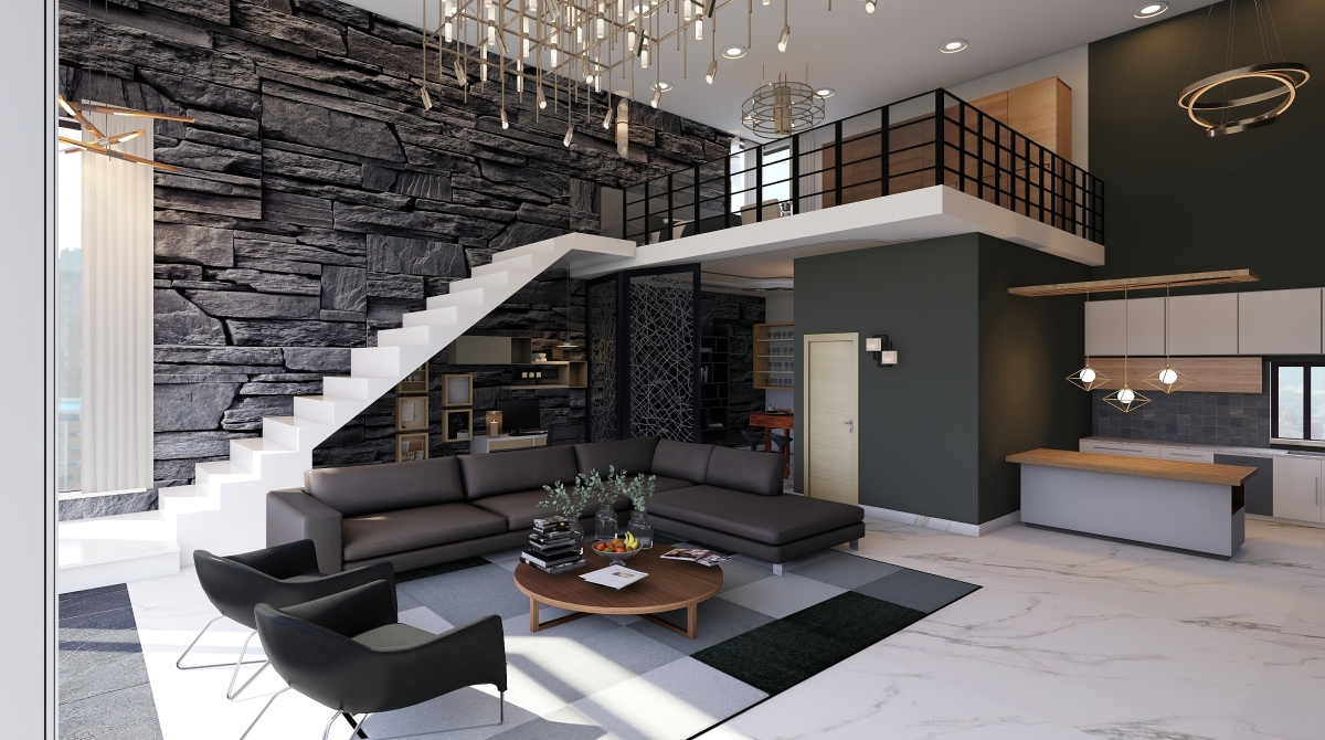 Double Height Living Home Decoration Project And 3d