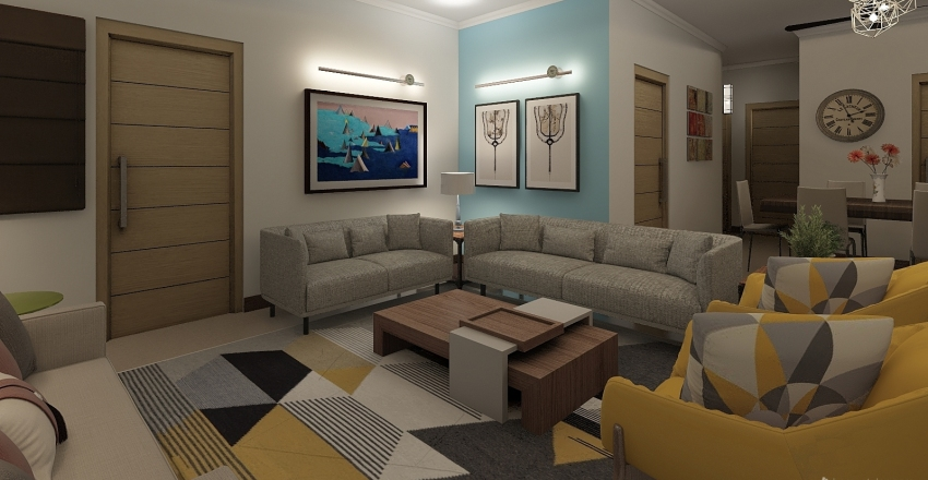 3 BHK Apartment Interior Design Render