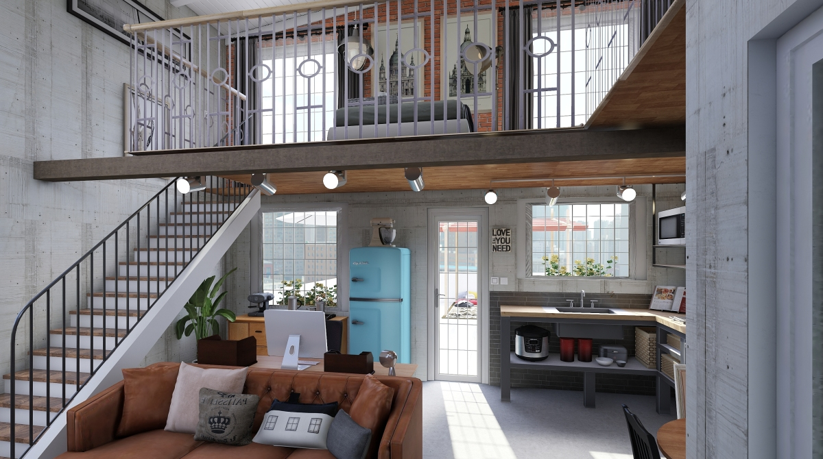 Small loft apartment with terrace interior decoration for Homestyler italiano
