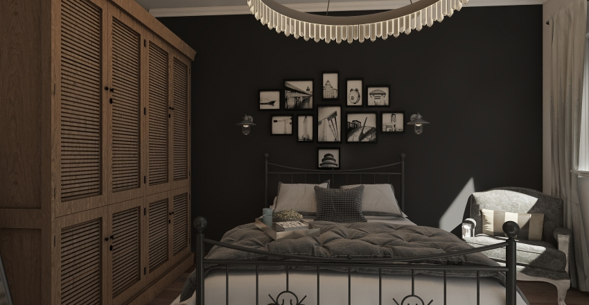 Farmhouse bedroom Interior Design Render