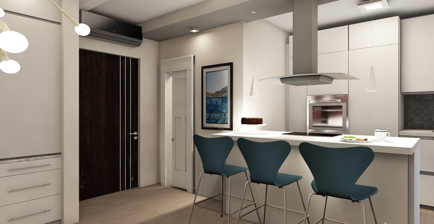 Studio apartment Interior Design Render