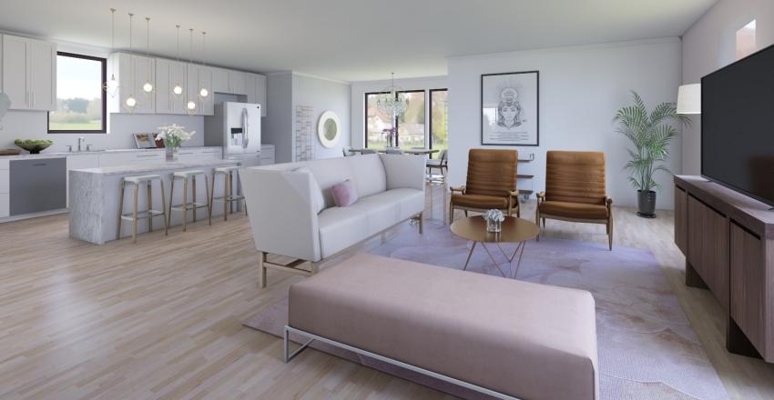 Contemporary Kitchen/Living Interior Design Render