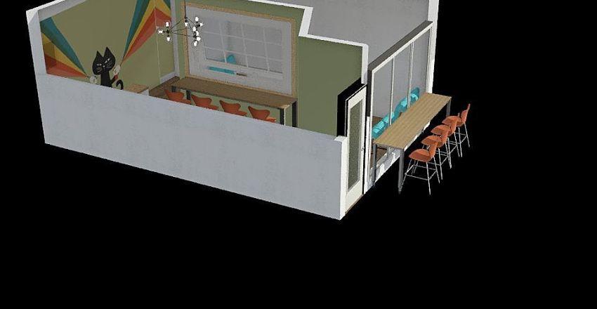 Black Cat Cafe Interior Design Render