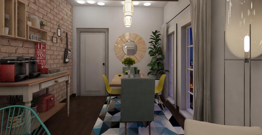 Sala de Estar e Jantar Boho Chic Interior Design Render